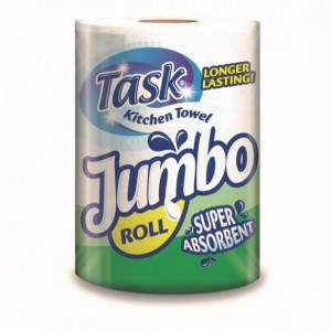 Task Jumbo Super Absorbent Kitchen Roll / Towels - 2 Ply - Approx 200 Sheets