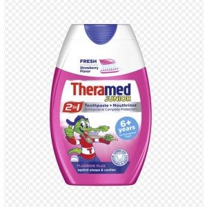 Theramed Junior 2-in-1 Fluoride Plus Toothpaste + Mouthwash - Strawberry - 75ml