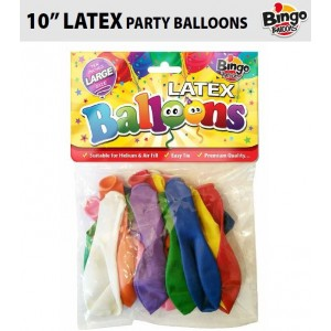 """Bingo Traditional Large Latex Balloons - 10"""" - Pack of 16 - Assorted Colours"""