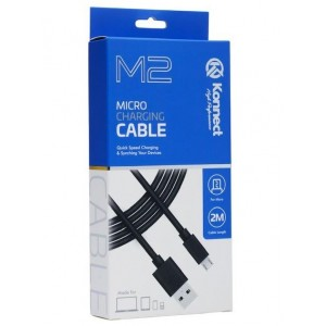 Konnect High Performance M2 Quick Speed Micro Charging Cable for Samsung - Black - 2m