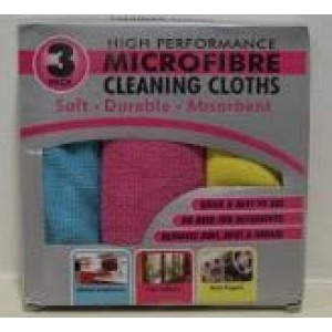 HIGH PERFORMANCE MICROFIBRE CLEANING CLOTHS - PACK OF 3