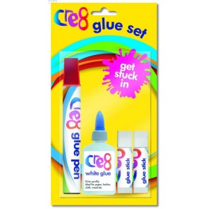 Cre8 Glue Pen, Glue Stick & PVA Glue Children Arts & Crafts Set - Pack of 4