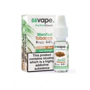 88 Vape Any Tank E Liquid - Menthol Tobacco - 50/50 Pg/Vg - 6Mg - 10Ml