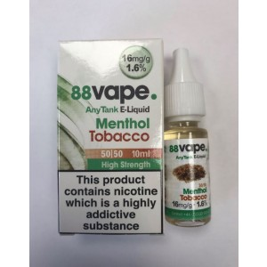 88 Vape Any Tank E Liquid - Menthol Tobacco - 50/50 Pg/Vg - 16Mg - 10Ml