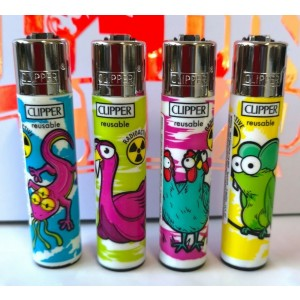 Clipper Classic Large Reusable Lighters - Mutant Animals - Assorted Colours & Designs