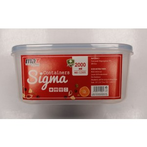 Max Microwave Safe Plastic Sigma Container - 2000ml