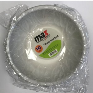 """Max Disposable Plastic Deep Bowl - 7"""" - White - Pack of 10"""
