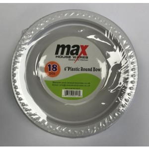 "Max House Wares Disposable Plastic Round Bowl - 6"" - White - Pack of 18"