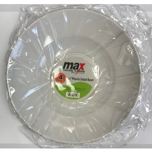 "Max House Wares Disposable Plastic Salad Bowl - 11"" - White - Pack of 4"