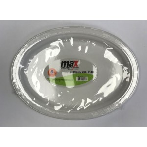"""Max Disposable Plastic Oval Plate - 10"""" - White - Pack of 8"""