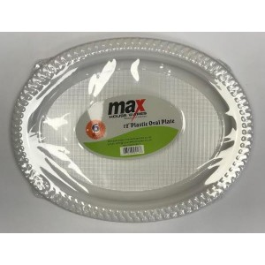 """Max Disposable Plastic Oval Plate - 12"""" - White - Pack of 6"""