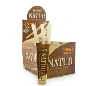 Natur Authentic Organic Cone Papers - King Size - 3 Per Pack - 30 Per Box