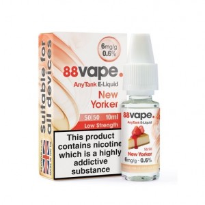88 Vape Any Tank E Liquid - New Yorker - 50/50 Pg/Vg - 6Mg - 10Ml