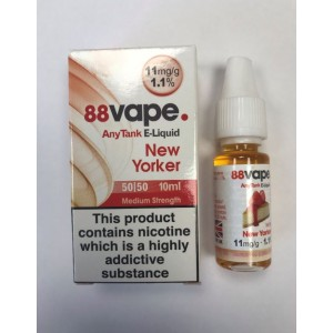 88 Vape Any Tank E Liquid - New Yorker - 50/50 Pg/Vg - 11Mg - 10Ml