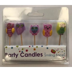 Owl Cake Candles - Assorted Shapes - Pack of 5