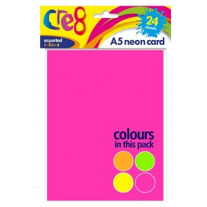 Cre8 A5 Neon Cards/Sheets - Assorted Colours - Pack of 24