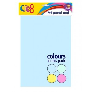 Cre8 A4 Pastel Cards/Sheets - Assorted Colours - Pack of 12