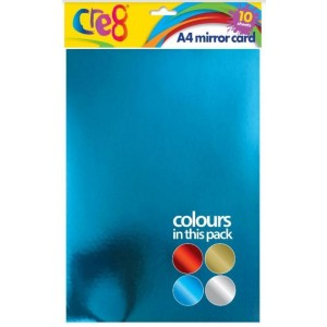 Cre8 A4 Mirror Card - Pack of 10 - Assorted Colours