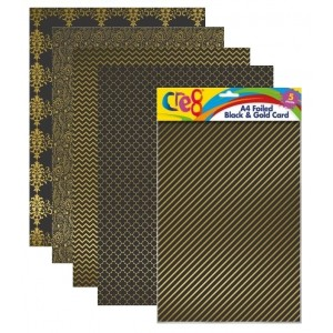 Cre8 A4 Foiled Black & Gold Cards/Sheets - Assorted Colours - Pack of 5