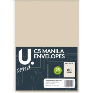 U Send C5 Manila Envelopes - 80GSM - Pack of 25