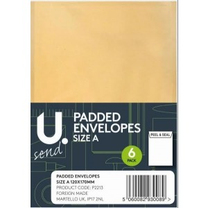 U Send Padded Envelopes - Size A - 16.5cm x 12cm - Pack of 6