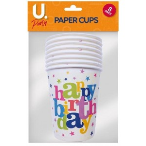 U Party Happy Birthday Paper Cups - Pack of 8