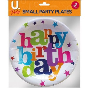 U Party Birthday Plates - Small - 17.5cm - Pack of 8