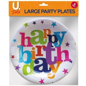 U Party Birthday Plates - Large - 23cm - Pack of 8