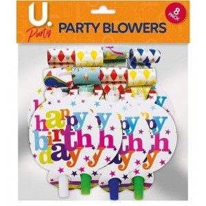 Happy Birthday Party Blowers - Pack of 10 - Assorted Colours