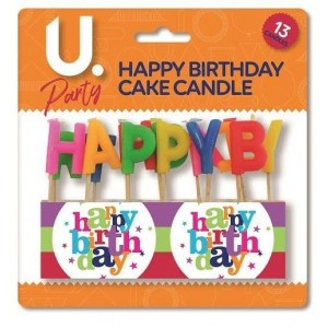 U Party Happy Birthday Cake Candle - Pack of 13 - Assorted Colours