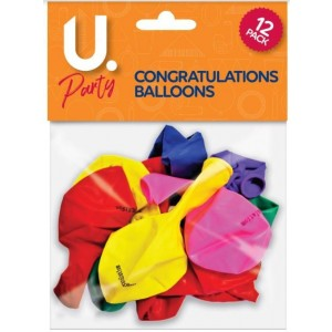 U Party Congratulations Balloons - Pack of 12 - Assorted Colours