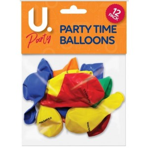 U Party Its Party Time Balloons - Pack of 12 - Assorted Colours
