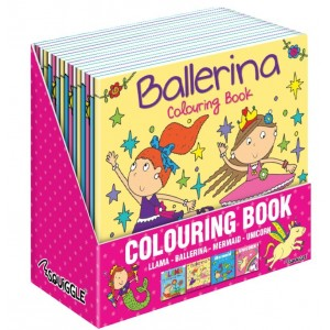 Girls Colouring Books - Assorted - Llama/Mermaid/Unicorn/Ballerina - 21 x 21cm