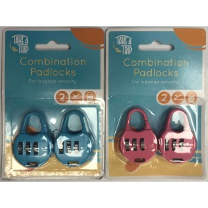 Take a Trip Combination Padlock Set - Pack of 2 - Assorted Colours
