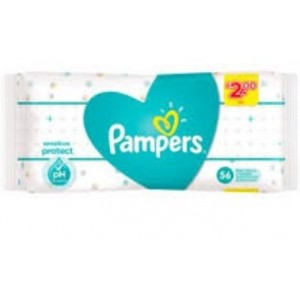 Pampers PH Balanced Sensitive Baby Wet Wipes - Pack of 56 - PRICE MARKED £2