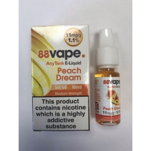 88 Vape Any Tank E Liquid - Peach Dream - 50/50 Pg/Vg - 11Mg - 10Ml
