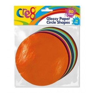 Cre8 Glossy Paper Circle Shapes - 14cm - Assorted Colours - Pack of 80