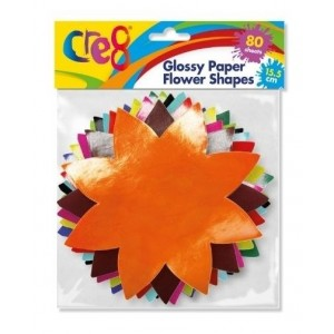 Cre8 Glossy Paper Flower Shapes - 15.5cm - Assorted Colours - Pack of 80
