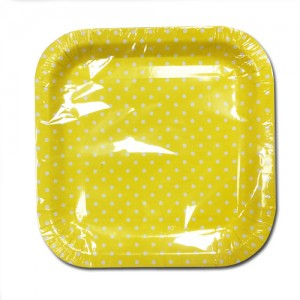 Medium Size Polka Dot Disposable Square Shape Paper Plates - 24Cm X 24Cm - Pack Of 10 - Colours Vary
