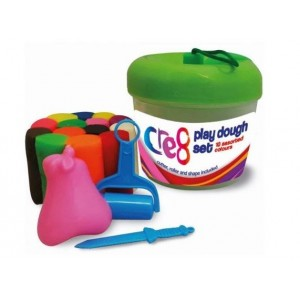 Cre8 Apple Play Dough Set with Cutter, Roller & Shape - Assorted Colours