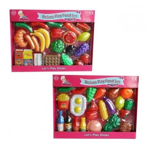 My Little Kitchen Deluxe Play 22 Piece Food Set - 37 x 28 x 5cm - Assorted Items