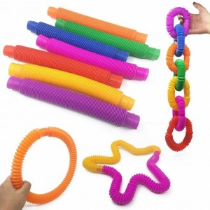 Pop Tubes Stretch Sensory Fidget Tube/Pipe Toys  - Colours May Vary - 14x 2cm approx.