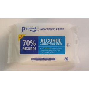 Purewell Alcohol Anti-Bacterial Multi-Use Wipes - 70% Alcohol - Pack of 50 - Exp: 07/2022