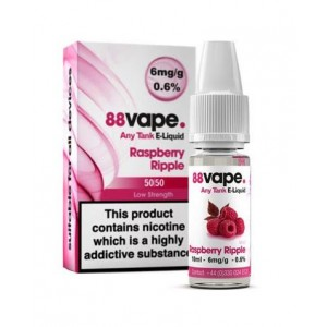 88 Vape Any Tank E Liquid - Raspberry Ripple - 50/50 Pg/Vg - 6Mg - 10Ml