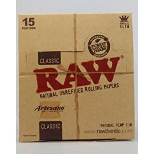 CLASSIC RAW NATURAL UNREFINED ROLLING PAPERS - KING SIZE SLIM - ARTESANO TRAY AND PAPERS AND TIPS - BOX OF 15