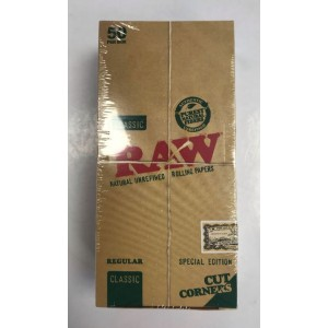 Raw Classic Natural Unrefined Rolling Papers with Cut Corners - Regular - Special Edition - Pack Of 50
