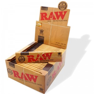 Raw Classic King Size Slim Natural Unrefined Rolling Papers - Box Of 50