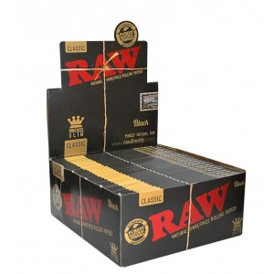 Raw Classic King Size Slim Natural Unrefined Rolling Papers - Black - Box Of 50