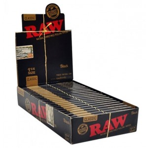 Classic Raw Natural Unrefined Rolling Papers Black - 1 1/4 Size - Pack Of 24
