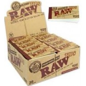 Raw Natural Unrefined Hemp And Cotton Perforated Tips - Wide Tips - Box Of 50